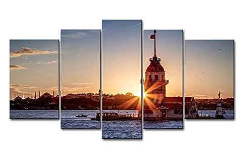 5pièces Décoration murale Tableau Tour de Léandre dans coucher de soleil Istanbul photos des Impressions sur toile City Le Décor à l'huile pour Home Imprimé moderne Décoration pour chambre à coucher