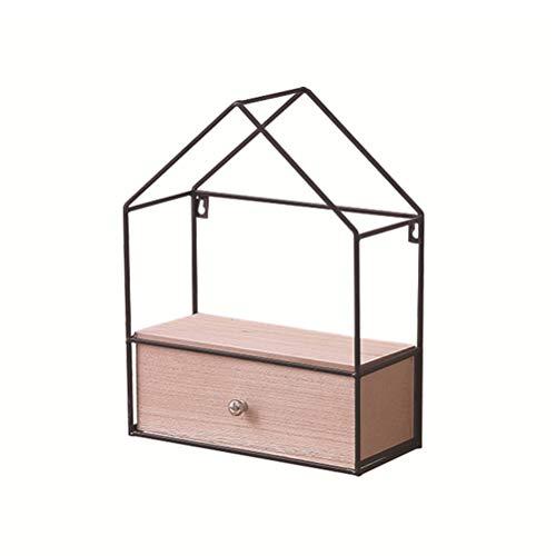 TOPBATHY Wandmontierte Lagerregal Eisen Dreieckige Organizer für Schlafzimmer Wohnzimmer Schmiede Regal (Einzelne Schubladen) -