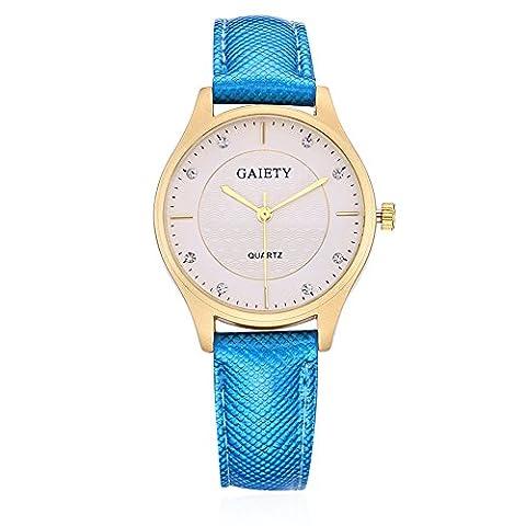 YAZILIND bijoux mode cuir Band simple quartz montre-bracelet-montre (bleu)