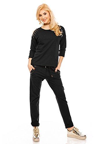 Damen Jersey Hose Freizeithose Sporthose Jogginghose Sweathose Schwarz Lang Abbildung 2