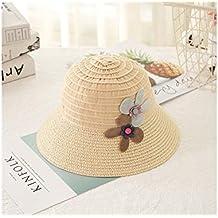 Yyanliii Linda Baby Girls Flower Sombrero de Paja de ala Ancha Sombrero de  protección Solar para 3f94c5d12df