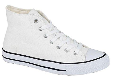 Boys Girls Youths Kids Hi-Top Canvas Trainers Toe Cap Lace Up Pumps Plimsolls Casual Shoes Size UK 12 13 1 2 2.5 Black White