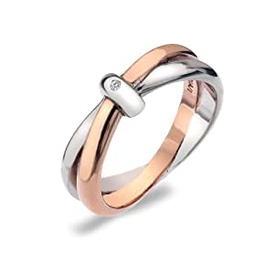Hot Diamonds Silver and 18ct Rose Gold Plated Eternity Interlocking Ring - K