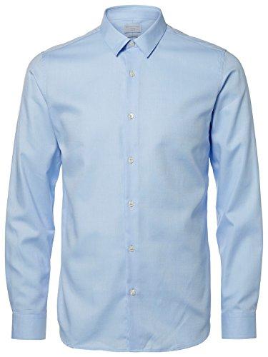 Selected Homme by Jack Jones Herren Hemd Easy Iron Identity Sh Done Shirt LS SLIM FIT Light Blue HERRINGBONE