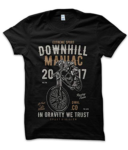 T-ShirtManiak Maglietta Down Hill Maniac - T-Shirt Moto Motor Motorcycle HD Custom Cross Motocross Super X-Game Extreme Garage USA Old Style Vintage Nera (L)