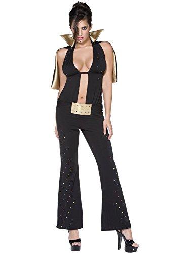 Smiffys SMIFFY 'S Fever Las Vegas Kostüm mit Body Cape und Gürtel-Schwarz (Elvis Kostüm Cape)