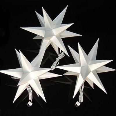 3er set beleuchtete sterne aus papier wei 3d weihnachtssterne f rs fenster bockelwitzer. Black Bedroom Furniture Sets. Home Design Ideas