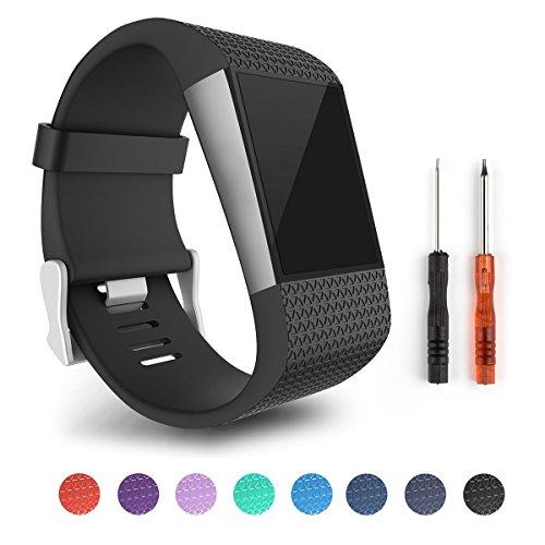 Yincol Smart Fitbit Surge Ersatzarmband Armband Ersatz Verschluss Wölbungs Werkzeug Installationssatz for Fitbit Super Watch Fitbit Surge (TPE - Schwarz, L)
