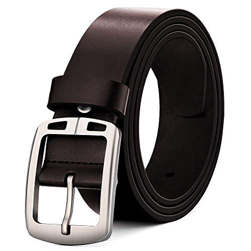 MUCO Cinturón de cuero negro marrón Hombres Hebilla Durable Cuero Cinturón Conveniente para los pantalones vaqueros del traje Para hombres