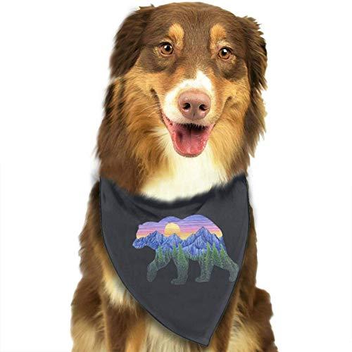 Rghkjlp Dogs Bandana Collars Sunset Bear Pets Triangle Neckerchief Puppy Bibs Scarfs Cats Scarfs Towel