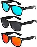 X-CRUZE - Lot de 3 paires de lunettes de soleil unisexe, femmes, hommes - Style Nerd,...