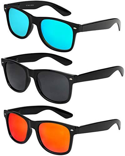 X-CRUZE 3er Pack X0 Nerd Sonnenbrillen Vintage Retro Style Stil Design Unisex Herren Damen Männer Frauen Brillen Nerdbrille Nerdbrillen - schwarz - Set E -