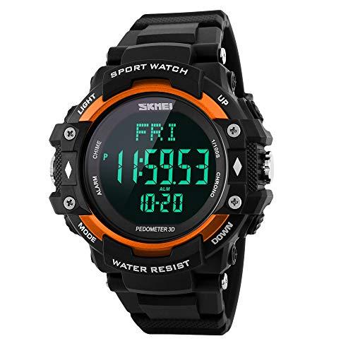 BOZLUN Digitale LED Sport-Armbanduhr mit 3D-Schrittzähler Herzfrequenzmess