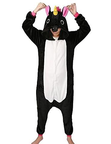 Tier Karton Kostüm Einhorn PyjamaTierkostüme Jumpsuit Erwachsene Schlafanzug Unisex Cosplay (M(Höhe152-165CM), Schwarz (Jumpsuit Kostüm)