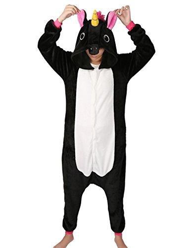 Reißverschluss Kostüme (Tier Karton Kostüm Einhorn PyjamaTierkostüme Jumpsuit Erwachsene Schlafanzug Unisex Cosplay (M(Höhe152-165CM), Schwarz)