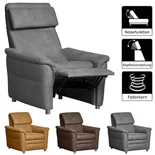 Cavadore Sessel Chalsay inkl. verstellbarem Kopfteil und Relaxfunktion / mit Federkern / moderner Fernsehsessel für Heimkino / Größe: 90 x 94 x 92 cm (BxHxT) / Farbe: Grau (argent) -