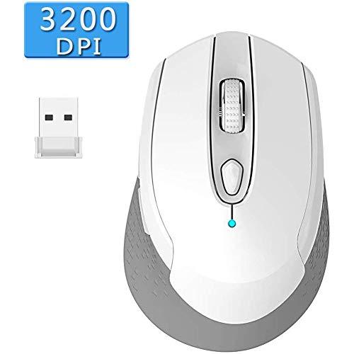 JMSTT Kabellose Maus Ergonomisches Design 2.4G Stummschalten 6 Einstellbare DPI Mit Nano USB-Empfänger Für Multi-Device Windows/Mac Vista 7/8 Und Linux,Weiß