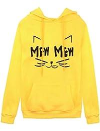 Yvelands Camisas para Mujer de Manga Larga, Mujeres Fashion Plus Size Print Blusa de Cuello con Capucha con Capucha Tops.