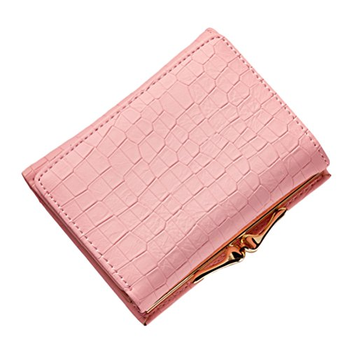 Zhhlinyuan Elegant Womens Ladies Purse Small Wallet Mode 3 Fold Cash Card Coin Holder Handbag with Kiss Lock (Kiss Handbag Lock)