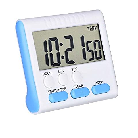 Mudder Magnetic Alarm Digital Kitchen Timer 24 Hours Clock Timer with Stand, Big Screen (Blue)