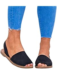 Sandalias de Vestir Plano Roma de Playa para Mujer con Cordones, QinMM Casual Zapatos Verano