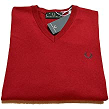 Camiseta hombre Men Fred Perry Made In Italy Lana 100% Wool Jersey Cuello V Neck fresa
