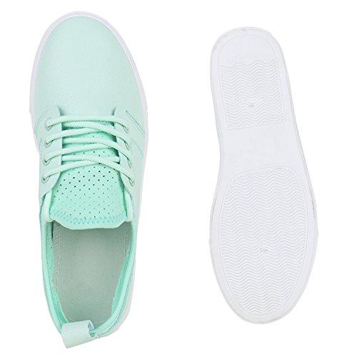 Damen Sneakers Sportschuhe Freizeit Schuhe Schnürer Hellgrün