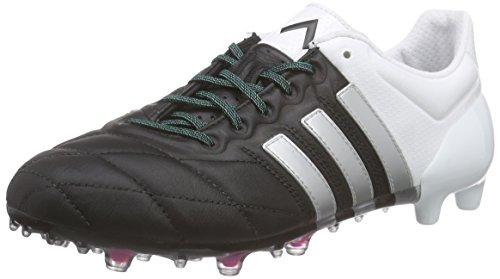adidas Ace 15.1 Fg/AG Leather, Scarpe da Calcetto Uomo, Nero (Core Black/Matte Silver/Ftwr White), 41 1/3 EU