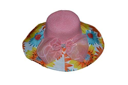 Pisco 'Large bord chapeau de paille plage soleil d'été avec nœud papillon et le bord avec fleur rose rose