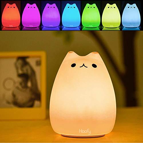 Luz de noche LED, Haofy Lámpara de noche para niños Lámpara de gato linda Control grifo sensible de silicona suave Juguete de descompresión multicolor para bebé Bebés Regalo de Navidad para guardería