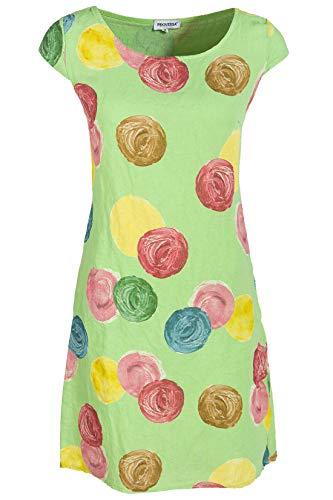 PEKIVESSA Leinenkleid Damen mit Punkten Sommerkleid ärmellos Lindgrün 38 (Herstellergröße M)
