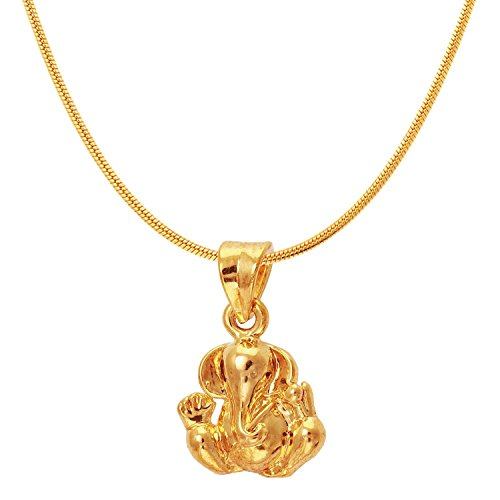 Mahi Exa Collection Ganesh Gold Plated Religious God Pendant with Chain for Men & Women PS6012012G
