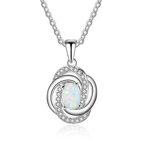 MATBC White Opal 925 Sterling Silver Halsketten & Anhänger für Frauen Spiral Twist Halsketten Schmuck für Frauen Opale Spiral