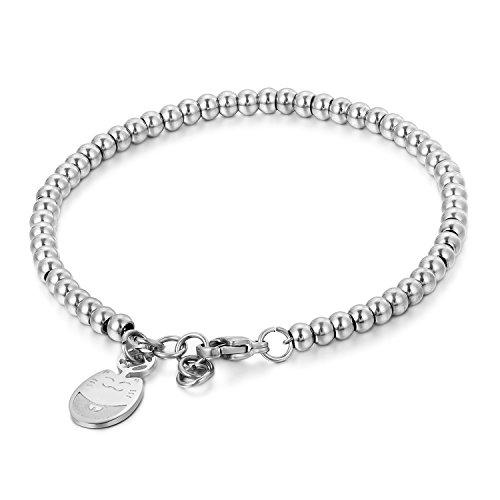 Imagen de bijoux fantasía pulsera mujer cadena de mano ajustable chatte animal acero inoxidable color plata regalo de san valentín aniversario boda para my best friend amor soeur