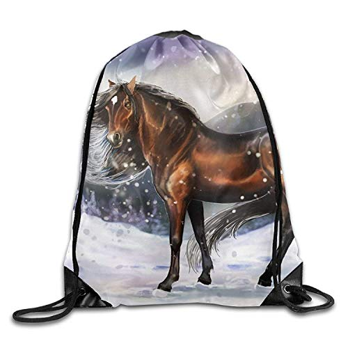 FTKLSS Kordelzugbeutel Lightweight FoldableGym Drawstring Bags Horse Snow Painting Draw Rope Shopping Travel Backpack Tote Student Camping