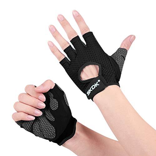 Reiten Kostüm Alte Dame - QIMANZI Fitness Handschuhe Damen Herren Atmungsaktive Trainingshandschuhe für Gym Krafttraining Crossfit Bodybuilding Gewichtheben Workout Reiten(Schwarz,M)