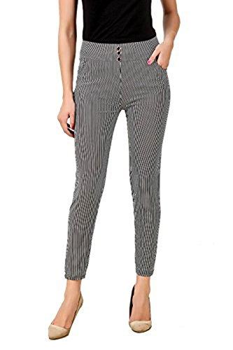 eTrendz Women's and Girl's Spandex striped Jegging (ETL1002_Black&White_Free Size)