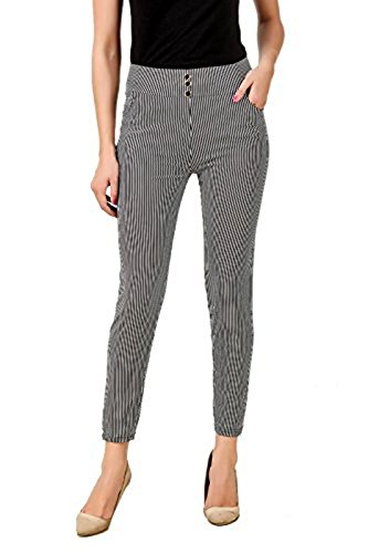 eTrendz Women\'s Spandex striped Jegging (ETL1002_Black&White_Free Size)