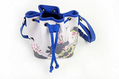 Lantra Besa Canvas Tasche Schultertasche Umhängetasche für Damen und Mädchen BY0002 - V14 Grün Blumen V02