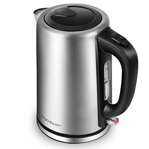 Aigostar Rob 30IGQ - Elektrischer Wasserkocher, 304 Food Grade Edelstahl, Schnurlos mit 2200 Watt, 1,7 Liter, trocknender Schutz beim Kochen, BPA frei. (Food Grade Edelstahl)