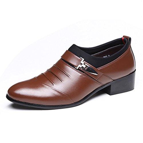 Noir Kostüm Homme - XI-GUA Herren Lederschuh Ohne Spitzenkleid Schuhe verschleißfeste Casual Brown 37
