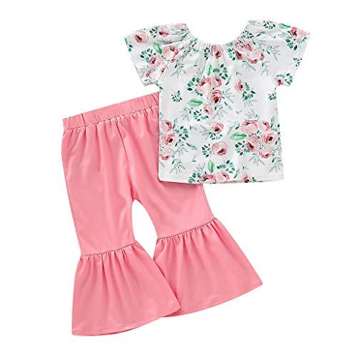 JERFER Baby Mädchen Blumen Kurzarm Tops und Flare Hose Set