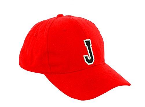 Unisex Jungen Mädchen Mütze Baseball Cap ROT Hut Kinder Kappe Alphabet A-Z Morefaz TM (J)