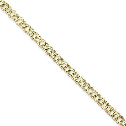10K oro doppio collegamento Charm Bracelet–Lobster Claw–Opzioni di lunghezza: 1820