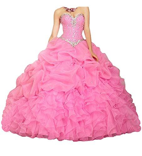 NUOJIA A Linie Prinzessin Quinceanera Kleider Organza Ballkleider Lang Festkleid Rosa 48