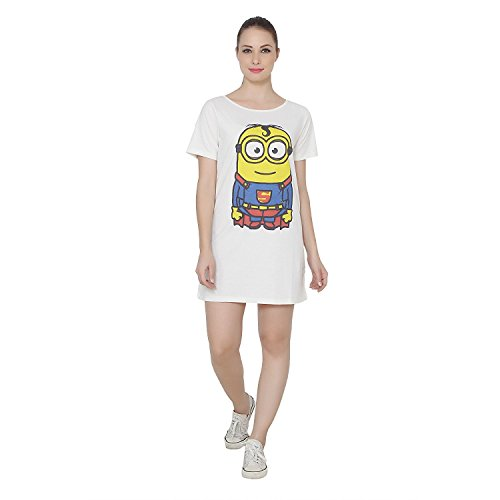 Ecru Boat Neck T-shirt Dress with Minion Superman Print on Front  available at amazon for Rs.545