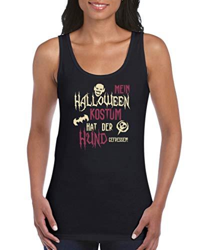 Comedy Shirts - Mein Halloween Kostuem hat der Hund gefressen - Damen Tank Top - Schwarz/Beige-Fuchsia Gr. S