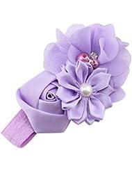 Sanwood Bandeau pour bébé enfant mousseline de soie Bandeau Coiffe imitation perles