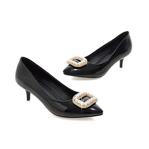 AgooLar Damen Spitz Zehe Mittler Absatz Lackleder Eingelegt Ziehen Auf Pumps Schuhe Schwarz