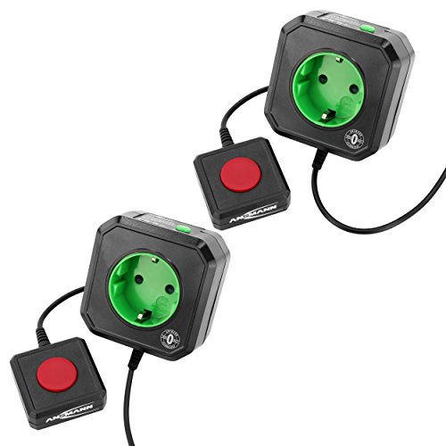 ANSMANN Steckdosenadapter energiesparend AES3 / Steckdose schaltbar für PC, Computer & PC Zubehör/Mühelose Montage durch simples Aufstecken / 2er Pack